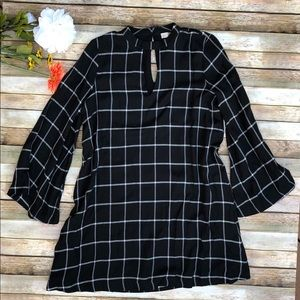 LOFT black long sleeve windowpane choker dress